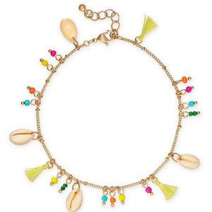 INC Boho Puka Shell Tassel Ankle Bracelet